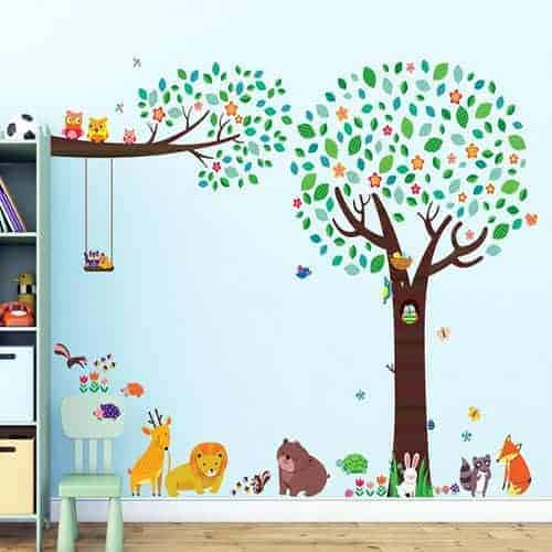 Animal Friends Large Tree & Branch with Owls Wall Stickers