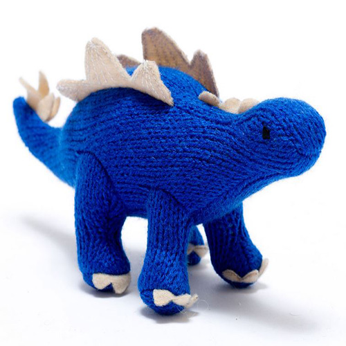 Knitted Stegosaurus Blue RATTLE