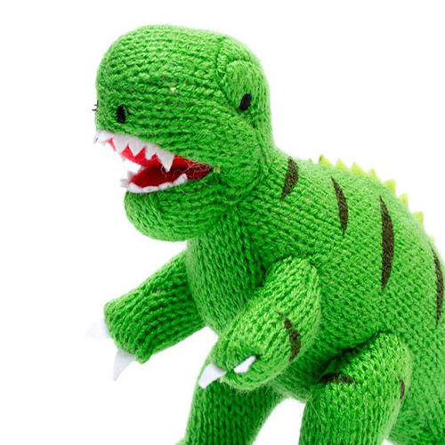 Knitted T Rex Green Rattle Kidiko Ie Personalised Baby