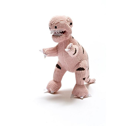 Knitted T Rex Pink RATTLE