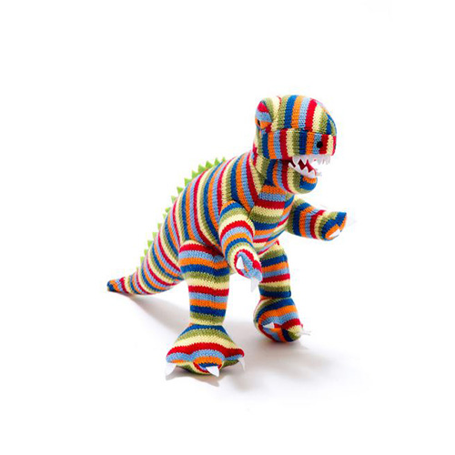 Knitted T Rex Stripped RATTLE