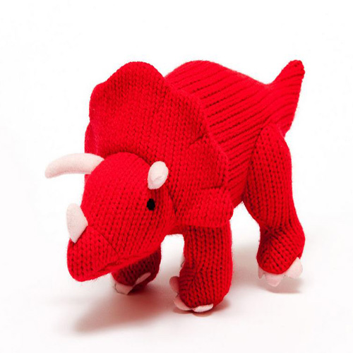 Knitted Triceratops Red RATTLE