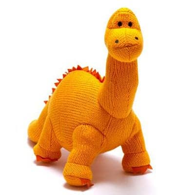 Large Knitted Dinosaur Orange Diplodocus