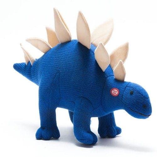 Large Roaring Knitted Dinosaur Blue Stegosaurus