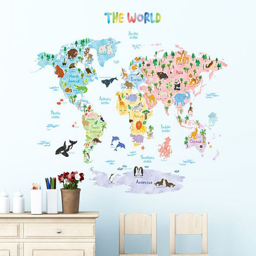 animal world map wall stickers - kidiko.ie - personalised baby gifts