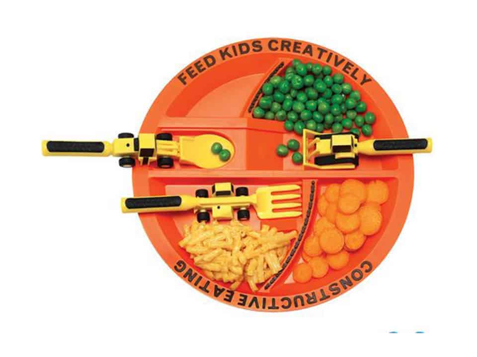Constructive Eating Plate and Utensils Set