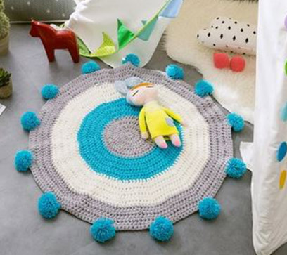 Handmade Knitted Rug Blue