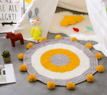 Handmade Knitted Rug Yellow