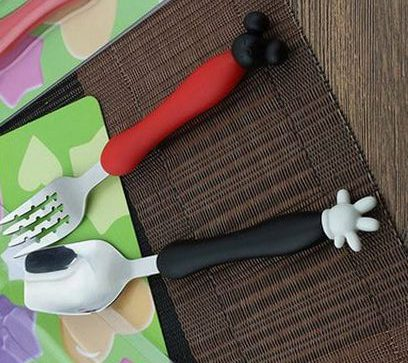 Knife and Fork Set Black and Red