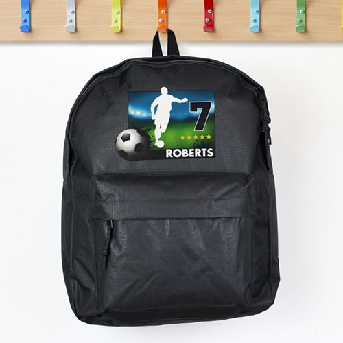 Personalised Black Football Backpack