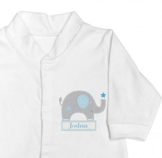 Personalised Blue Elephant Gift Set Babygrow and Bib