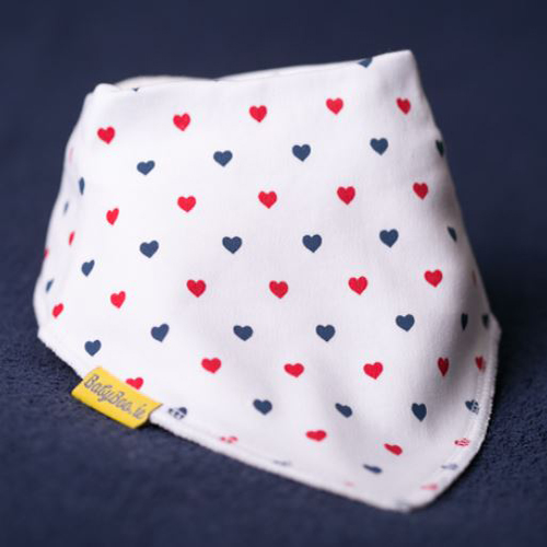 Babyboo Bib Red and Blue Love Heart