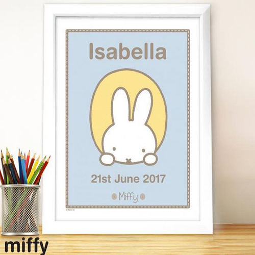 Personalised Miffy Peekaboo White Framed Poster Print