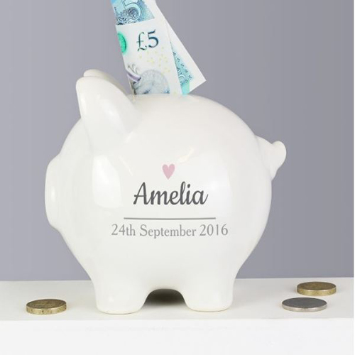 Personalised Pink Heart Piggy Bank