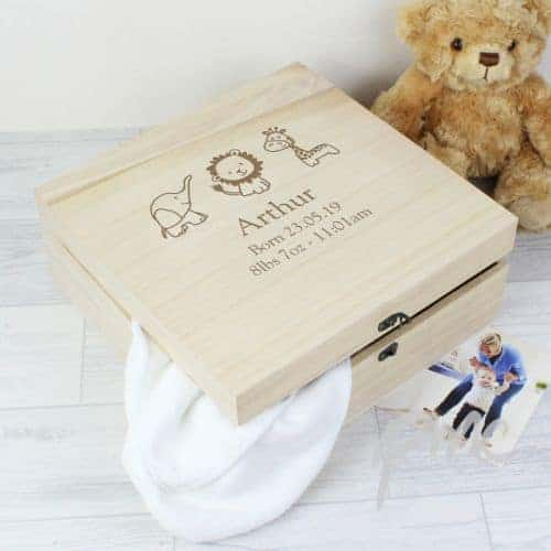Personalised Hessian Friends Large Wooden Keepsake Box Kidiko Ie