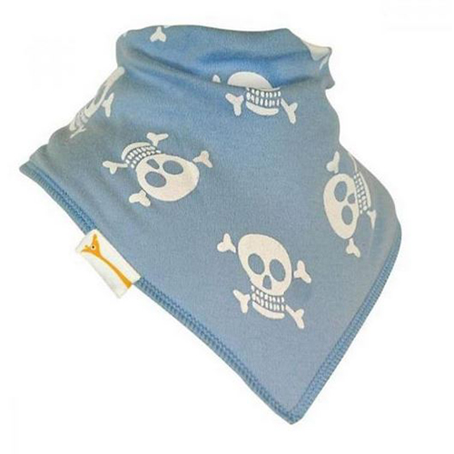 Pale Blue & White Jolly Rogers Bandana Bib