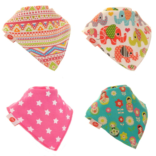 Zippy Baby Girl Bandana Dribble Bib 4 pack Ethnic Inspirations