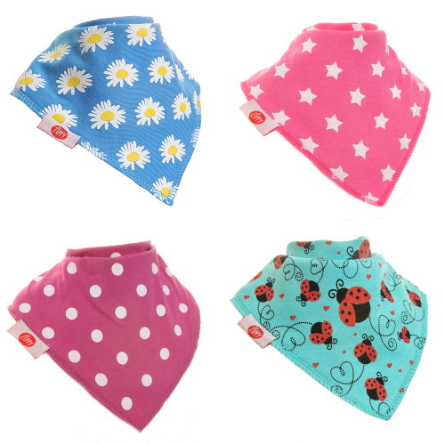 Zippy Baby Girl Bandana Dribble Bib 4 pack Funky Brights