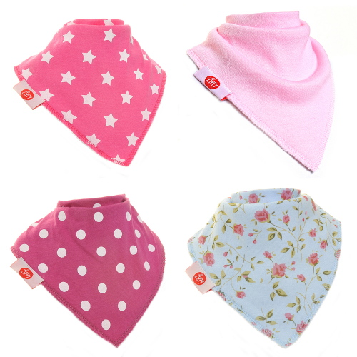 Zippy Baby Girl Bandana Dribble Bib 4 pack To Match Socks