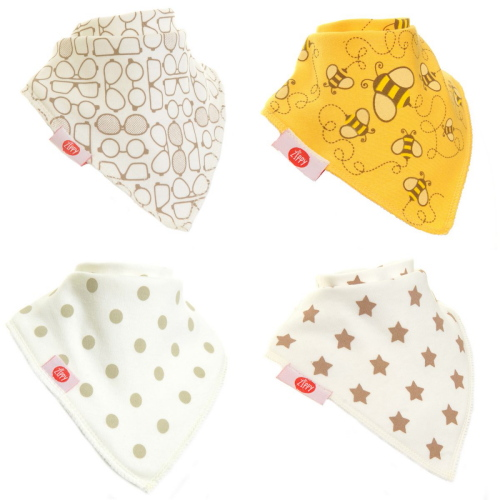 Zippy Baby Unisex Bandana Dribble Bib 4 pack Stylish Cream