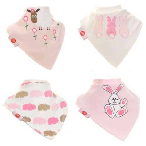 Zippy Baby Bandana Dribble Bib 4 pack Cute Pinks