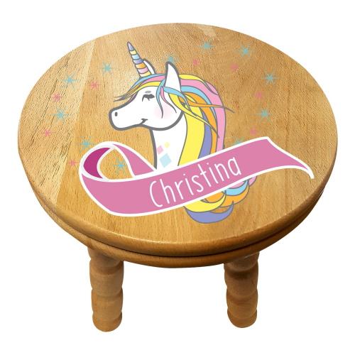 Personalised Children's Unicorn Wooden Stool