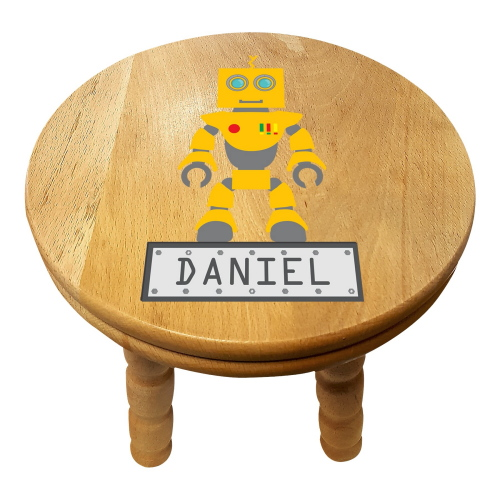 Personalised Children's Robot Wooden Stool