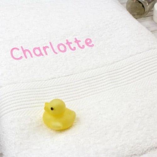 Personalised White Bath Towel - Pink