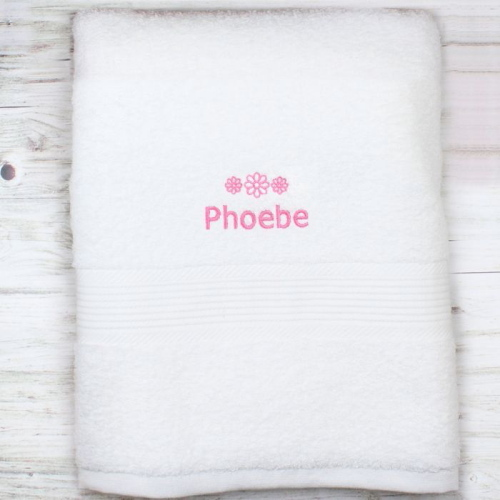 Personalised Pink Flowers White Bath Towel