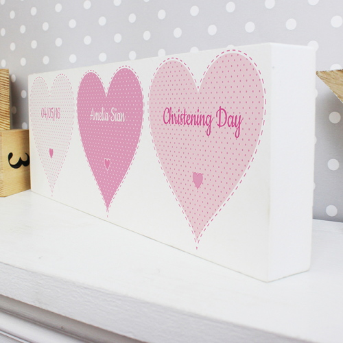 Personalised Stitch & Dot Baby Girl Wooden Block Sign