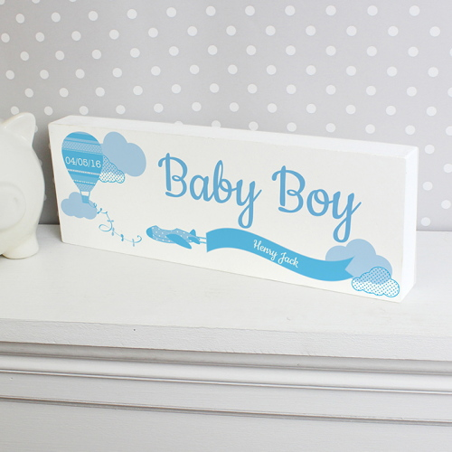 Personalised Up & Away Baby Boy Wooden Block Sign