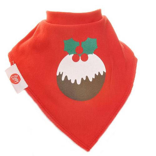 Plum Pudding Red Christmas Bib