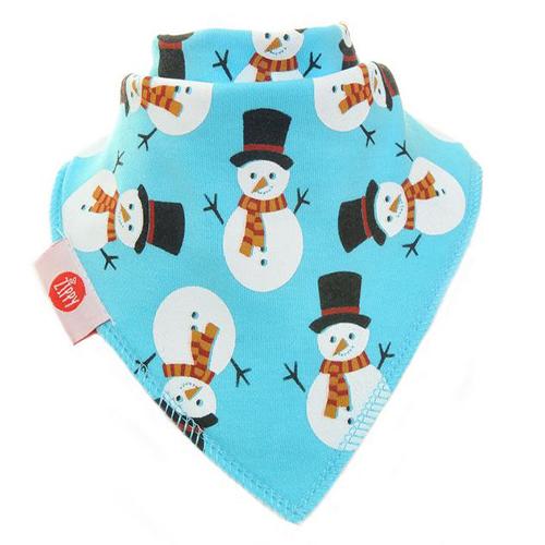 Snowman Light Blue Christmas Bib