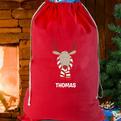 Personalised Retro Reindeer Red Cotton Sack