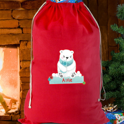 Personalised Polar Bear Red Cotton Sack
