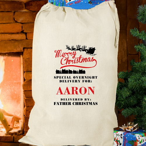 Personalised Merry Christmas Cotton Sack