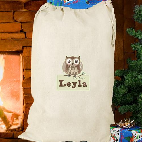 Personalised Woodland Owl Cotton Sack