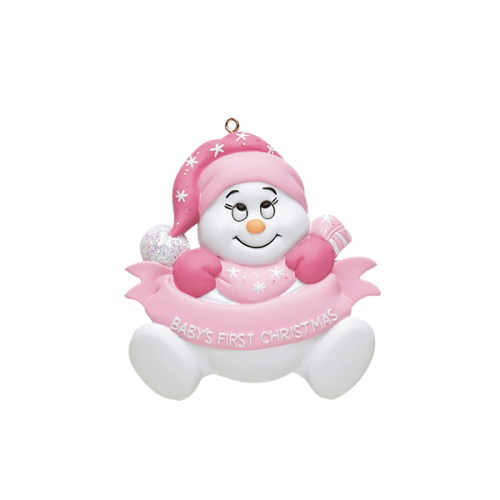 Personalised Pink Baby Snowman 1st Christmas Ornament