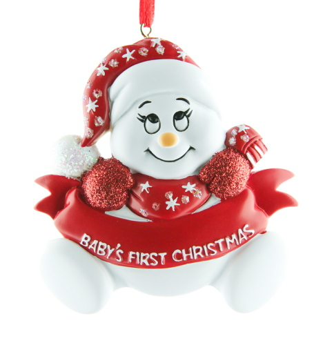 Personalised Red Baby Snowman 1st Christmas Ornament
