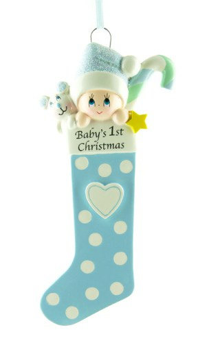 Personalised Blue Baby's Stocking 1st Christmas Ornament