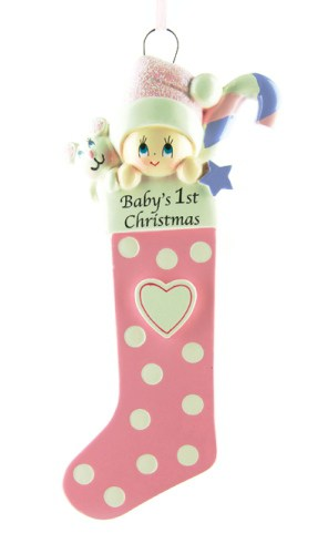 Personalised Pink Baby's Stocking 1st Christmas Ornament