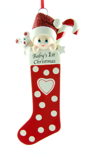 Personalised Red Baby's Stocking 1st Christmas Ornament