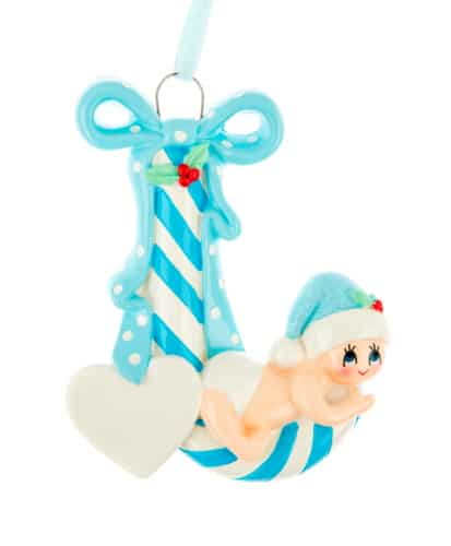 Personalised Blue Candy Cane Baby Christmas Ornament