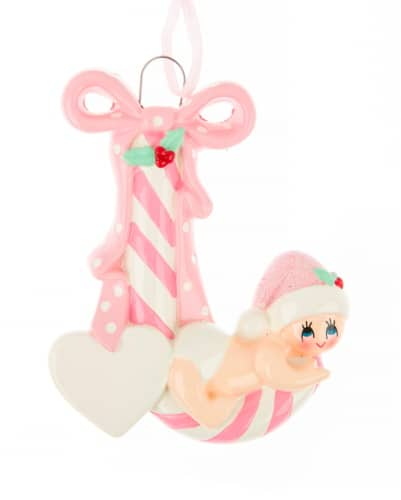 Personalised Pink Candy Cane Baby Christmas Ornament