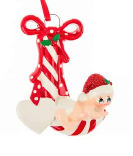 Personalised Red Candy Cane Baby Christmas Ornament