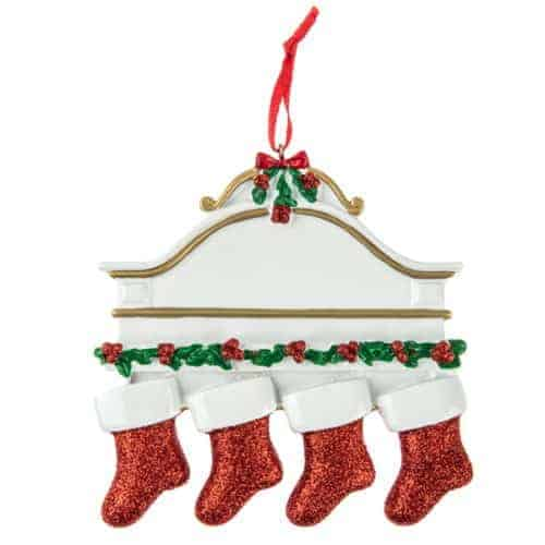Personalised White Mantle 4 Stockings Christmas Ornament