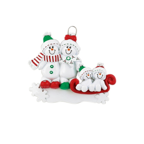 Personalised Snowman Sled Family 4 Christmas Ornament