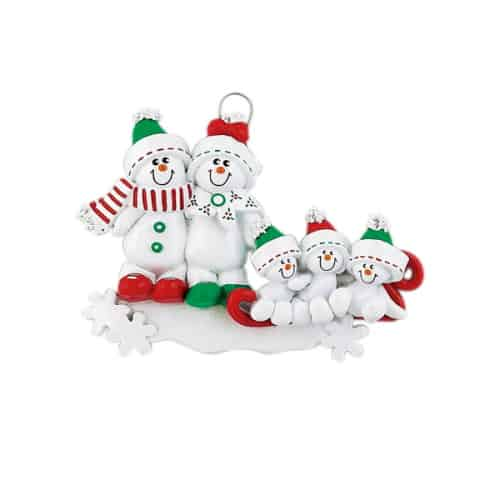 Personalised Snowman Sled Family 5 Christmas Ornament