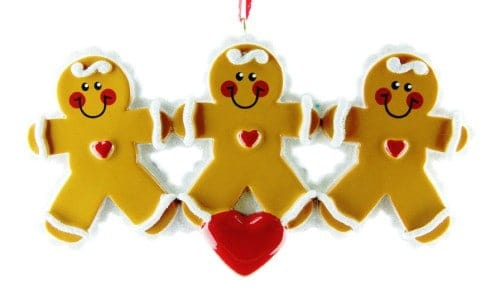 Personalised Gingerbread Family 3 Christmas Ornament