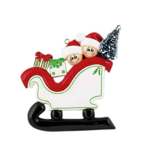 Personalised Sleigh Family 2 Christmas Ornament